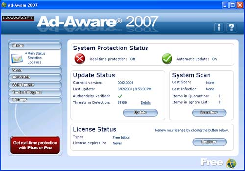 Ad-Aware 2007 Free Edition Screenshot