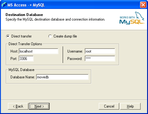 Bullzip Access To Mysql Screenshot 2