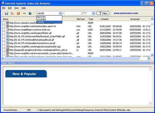 Index.dat Analyzer v2.0 Screenshot