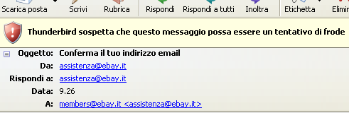Thunderbird individua email phishing eBay