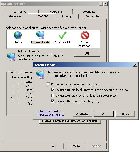 Tab Protezione Internet Explorer 7